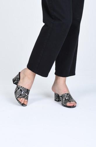 Bayan Topuklu Terlik 9103-09 Siyah Yılan