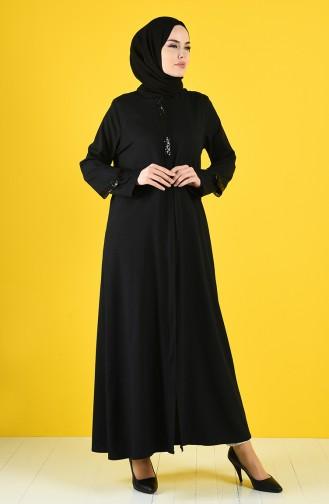 Payetli Ferace 1063-01 Siyah