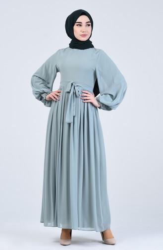 Unreife Mandelgrün Hijap Kleider 0366-06