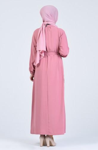 Aerobin Kumaş Kuşaklı Elbise 0368-03 Gül Kurusu
