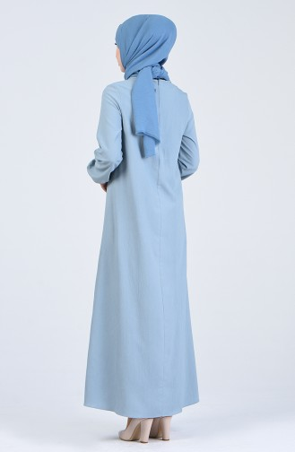 Robe Hijab Bleu Bébé 1385-07
