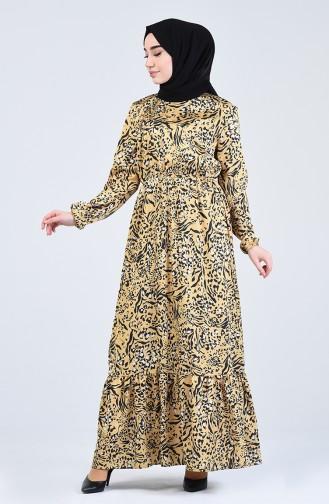 Elastic waist Patterned Dress 3026-01 Yellow 3026-01