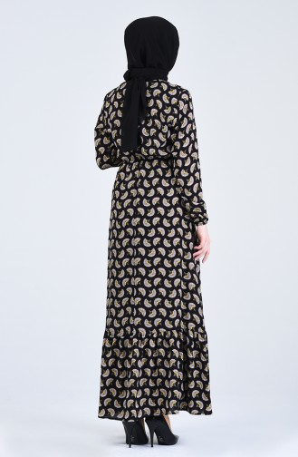 Kolu Lastikli Desenli Elbise 3029-01 Siyah