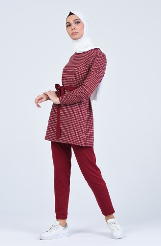 Plaid Tunic Trousers Double Suit 2009-03 Burgundy 2009-03