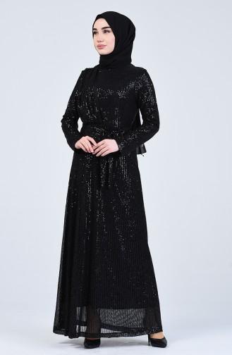 Payetli Abiye Elbise 3021-01 Siyah