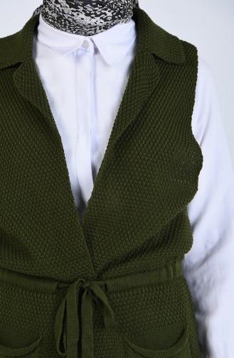 Triko Cepli Yelek 4209-07 Haki Yeşil
