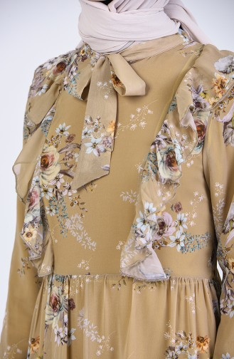 Tie Collar Patterned Dress 2223-01 Caramel 2223-01