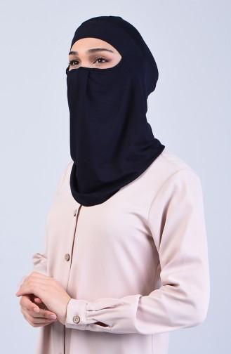 Sefamerve Hijab Gesichtsabdeckung Bonnet 8802-04 Dunkelblau 8802-04
