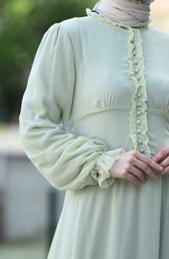 Robe de Soirée à Boutons 8107-06 Vert Eau 8107-06