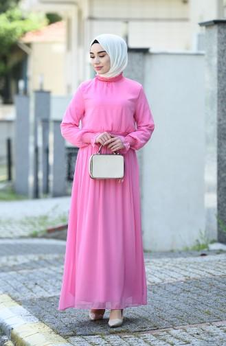 Guipure Chiffon Dress Pink 8154-04