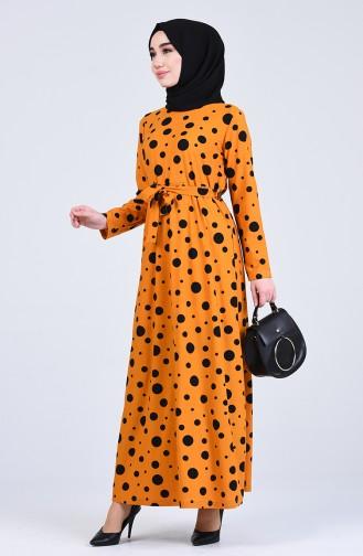 Pattern Belted Dress 5708f-02 Yellow 5708F-02