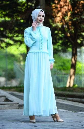 Robe de Soirée Boutonnée 8107-04 Vert Menthe 8107-04