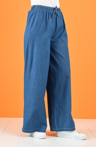 Lastikli Bol Paça Pantolon 4046-01 Kot Mavi