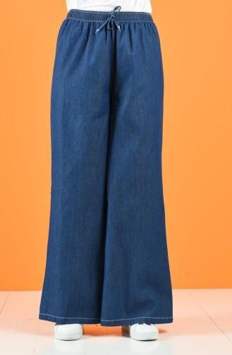 Lastikli Bol Paça Pantolon 4046-03 Lacivert 4046-03