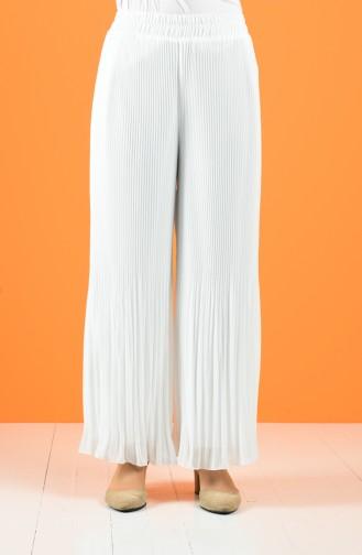 Pleated Chiffon Trousers 4000a-03 White 4000A-03