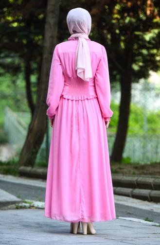 Robe de Soirée à Boutons 8107-10 Rose 8107-10