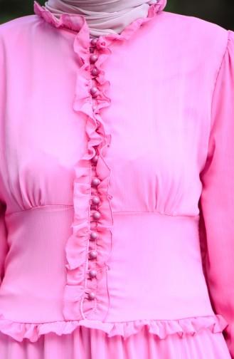 فستان سهرة بأزرار أمامية زهري 8107-10