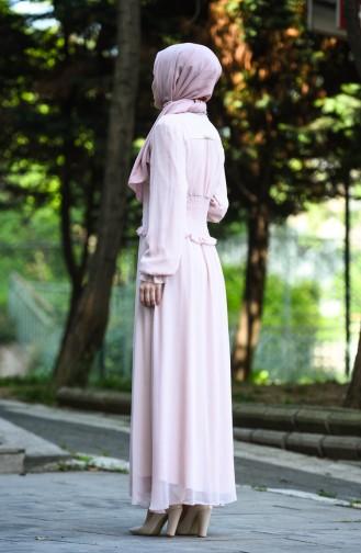 Robe de Soirée à Boutons 8107-09 Poudre 8107-09