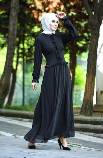 Robe de Soirée Boutonnée 8107-13 Noir 8107-13