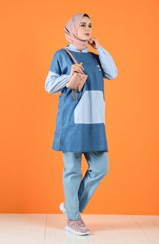 Pantalon Bleu Glacé 4045-01
