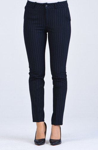 Striped Classic Trousers 3001-03 Navy Blue 3001-03