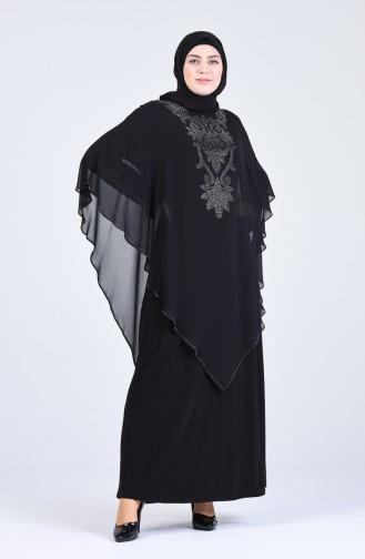 Büyük Beden Taş Baskılı Abiye Elbise 1019-01 Siyah