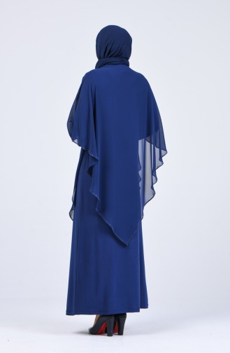 Büyük Beden Taş Baskılı Abiye Elbise 1019-04 İndigo