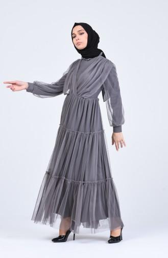 Grau Hijab-Abendkleider 3052-04