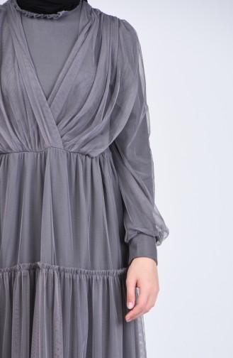 Habillé Hijab Gris 3052-04
