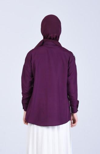Payet Detaylı Baskılı Gömlek Tunik 1633-02 Mor