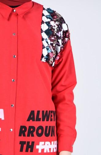 Payet Detaylı Baskılı Gömlek Tunik 1633-04 Kırmızı