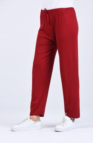 Elastic waist Viscose Trousers 8044-04 Burgundy 8044-04