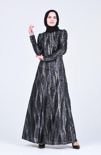 Payet Kaplama Abiye Elbise 7266-02 Siyah