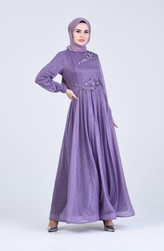 Lilac Islamic Clothing Evening Dress 1020-01