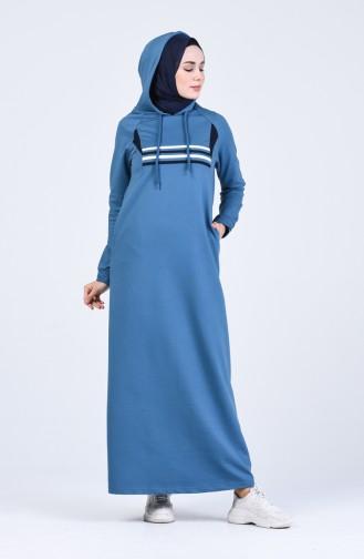فستان أزرق زيتي 9184-06