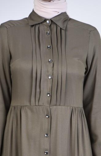 Önden Düğmeli Elbise 3146-01 Haki
