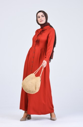 Önden Düğmeli Elbise 3146-04 Kiremit
