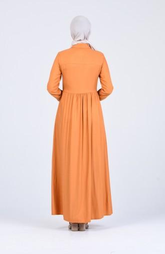Mustard İslamitische Jurk 3146-05