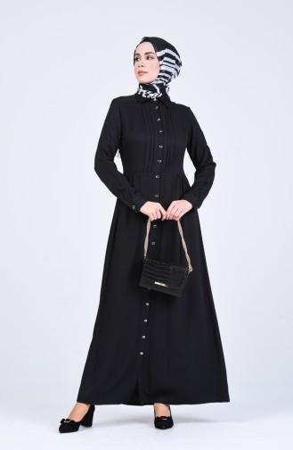 Önden Düğmeli Elbise 3146-08 Siyah