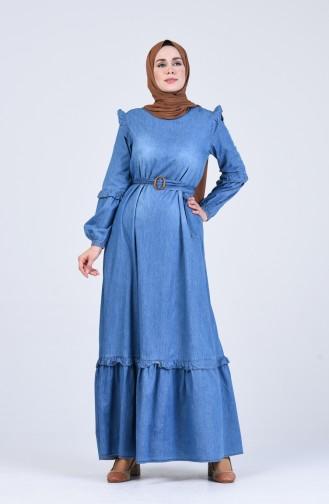 Robe Hijab Bleu Jean 8027-01