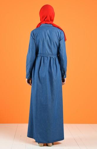 Buttoned Denim Dress 5001-01 Navy Blue 5001-01