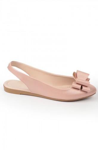 حذاء مسطح زهري البشرة 6676-6