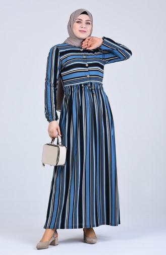 Büyük Beden Düğme Detaylı Kuşaklı Elbise 8011-06 Turkuaz 8011-06