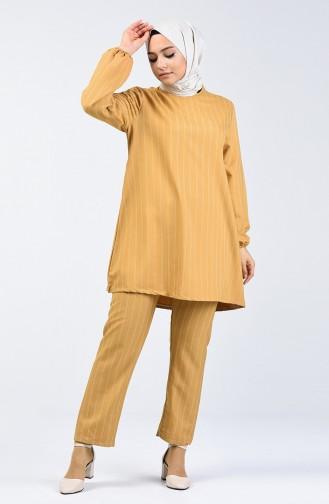 Ensemble Deux Pieces Pantalon Tunique à Manches Élastiques 1027A-04 Moutarde 1027A-04