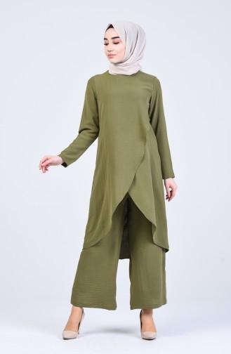 Aerobin Kumaş Asimetrik Tunik Pantolon İkili Takım 4915-02 Açık Haki Yeşil