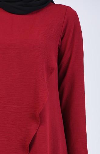 Aerobin Kumaş Asimetrik Tunik Pantolon İkili Takım 4915-06 Bordo