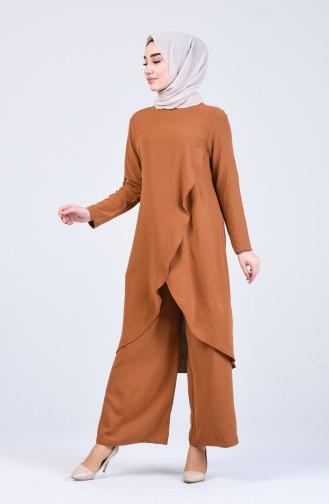 Aerobin Kumaş Asimetrik Tunik Pantolon İkili Takım 4915-07 Açık Taba
