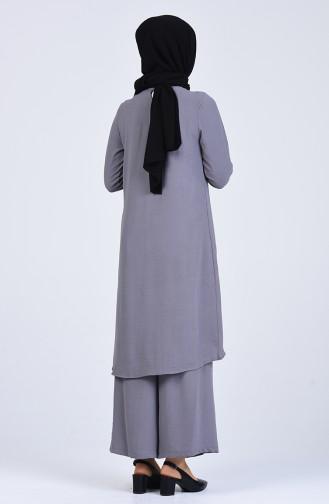 Aerobin Kumaş Asimetrik Tunik Pantolon İkili Takım 4915-08 Gri