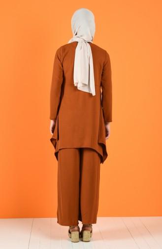 Aerobin Kumaş Düğme Detaylı Tunik Pantolon İkili Takım 5323-01 Koyu Taba