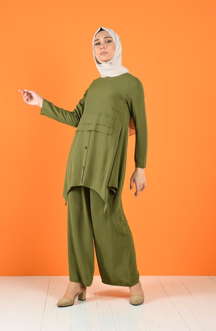 sefamerve takim strfy5323 03 5029521589538802561 1 Aerobin Kumaş Düğme Detaylı Tunik Pantolon İkili Takım 5323-03 Açık Haki Yeşil